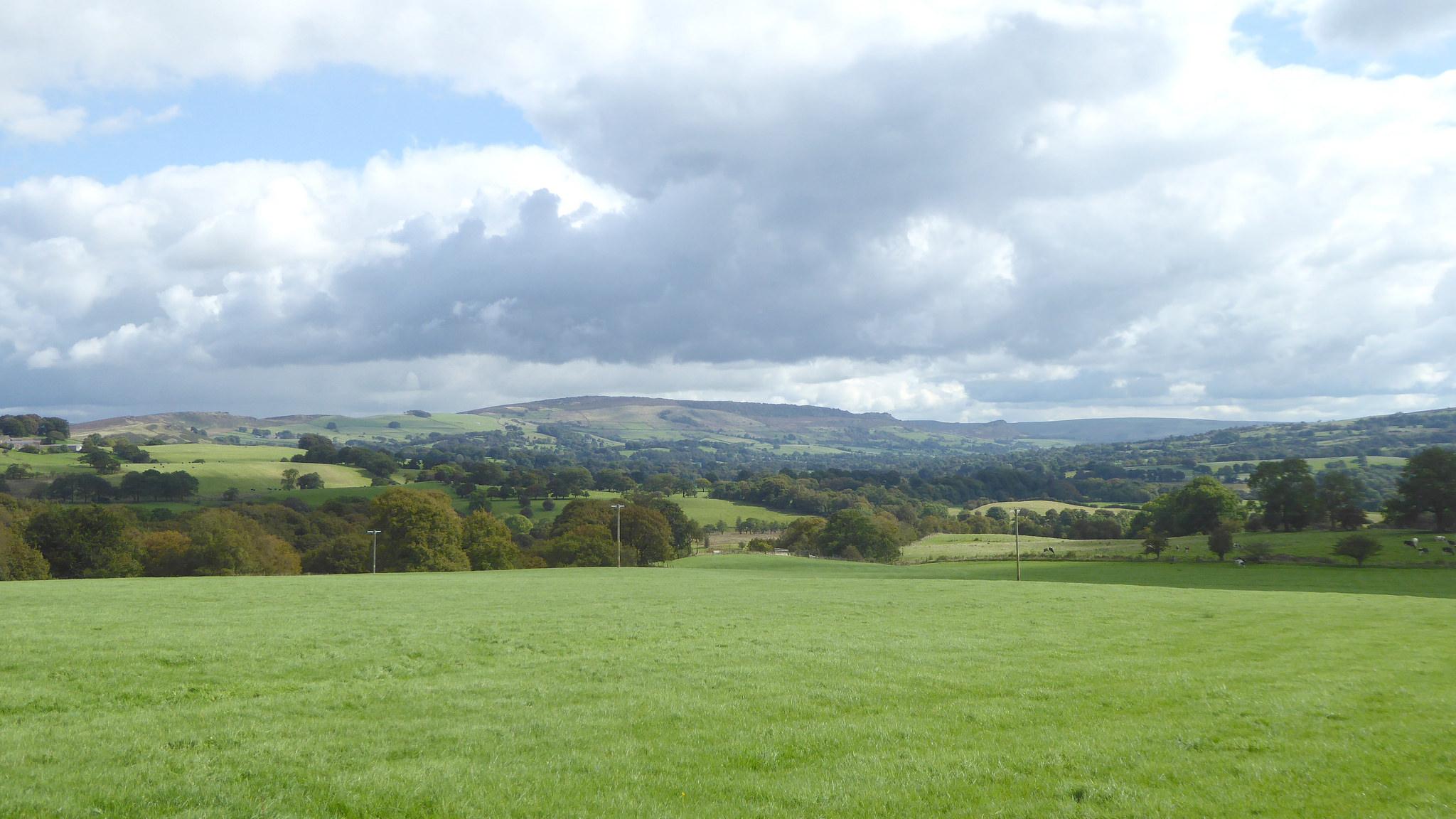 View of fields near the village of Hawkslee