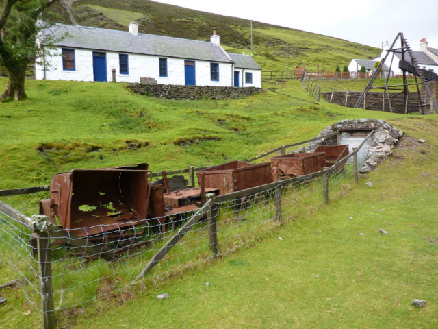 Remains of old mining wagons, rusting in the village of Wanlockhead