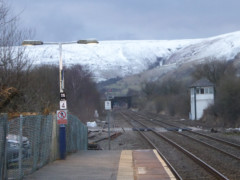 The view from the end of the platform at Edale station