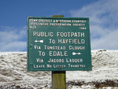 Peak and Northern Footpaths Society signpost for Hayfield and Edale