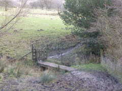 A muddy path and bridge near Upper Booth