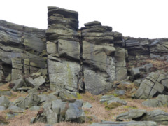 A small part of the Stanage Edge rockface