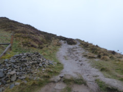 The muddy, wet path up Winhill