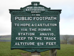 Peak and Northern Footpaths Society signpost 38, from 1908