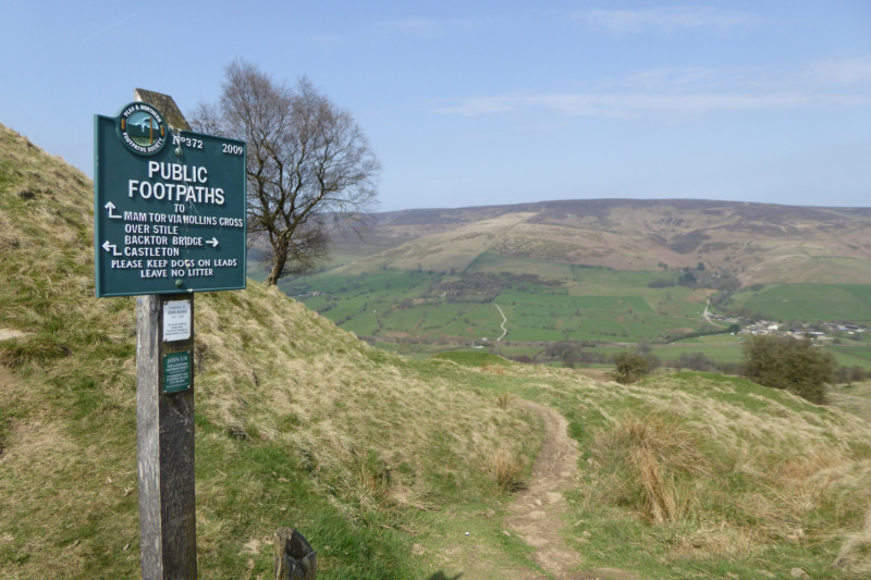 A Peak and Northern Footpaths Society signpost on the High Peak Way