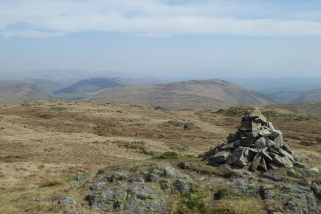 The summit cairn of Grey Crag