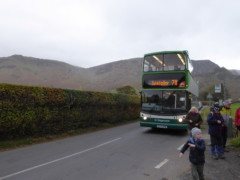 Alighting the open top bus at Rosthwaite