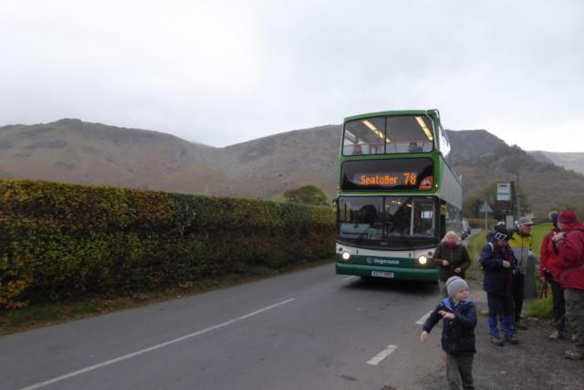 Alighting the open top bus at Rosthwaite