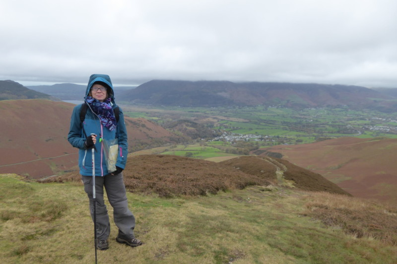 Catherine standing on the summit of Stile End