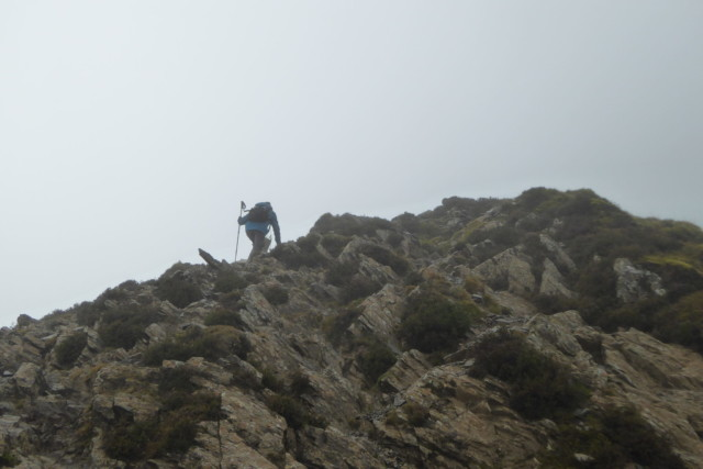 Scrambling up to the top of Grisedale Pike in the cloud
