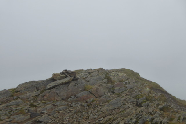 The tiny cairn at the summit of Hopegill Head