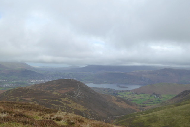 The view from Outerside. Looking towards Keswick and Derwent Water. In the foreground is another Wainwright, Barrow.