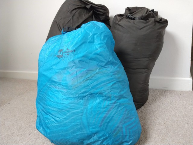 Three drybags of varying sizes