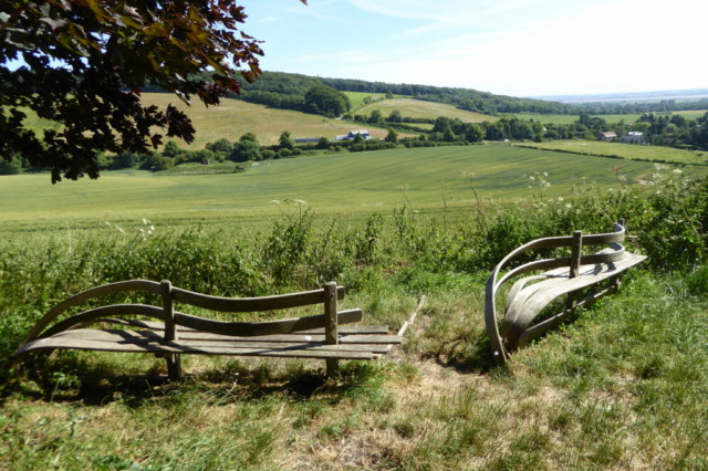 Artistic benches on the Yorkshire Wolds Way
