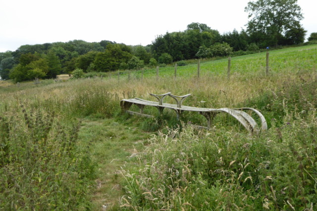 One of the elaborately designed wooden Yorkshire Wolds Way benches