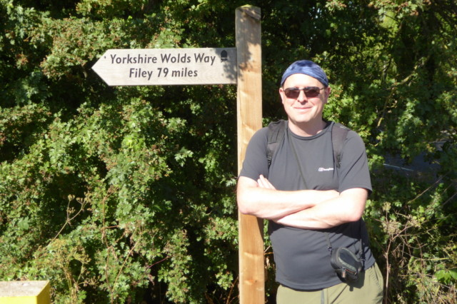 The author at the start of the Yorkshire Wolds Way