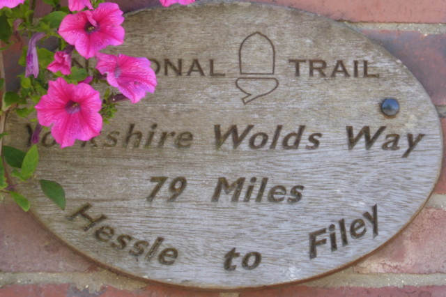 Yorkshire Wolds Way sign at the Goodmanham Arms, Goodmanham