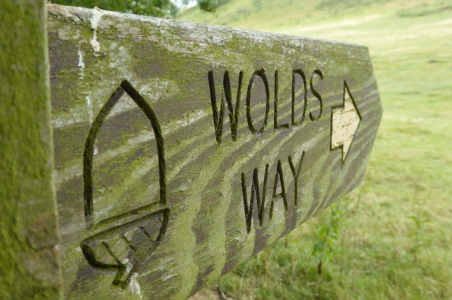 A 'Wolds Way' signpost