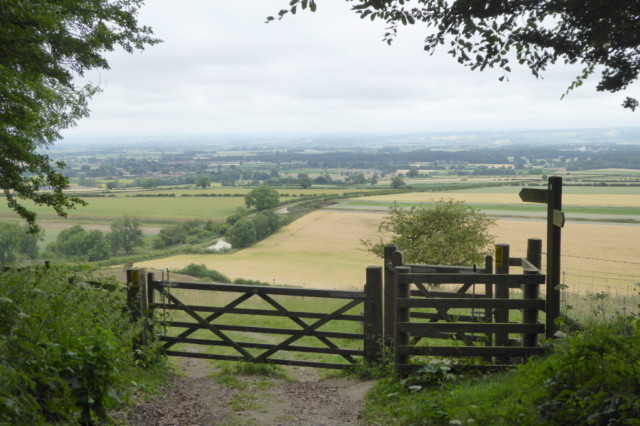 A gate in front of a view of the Vale of Pickering