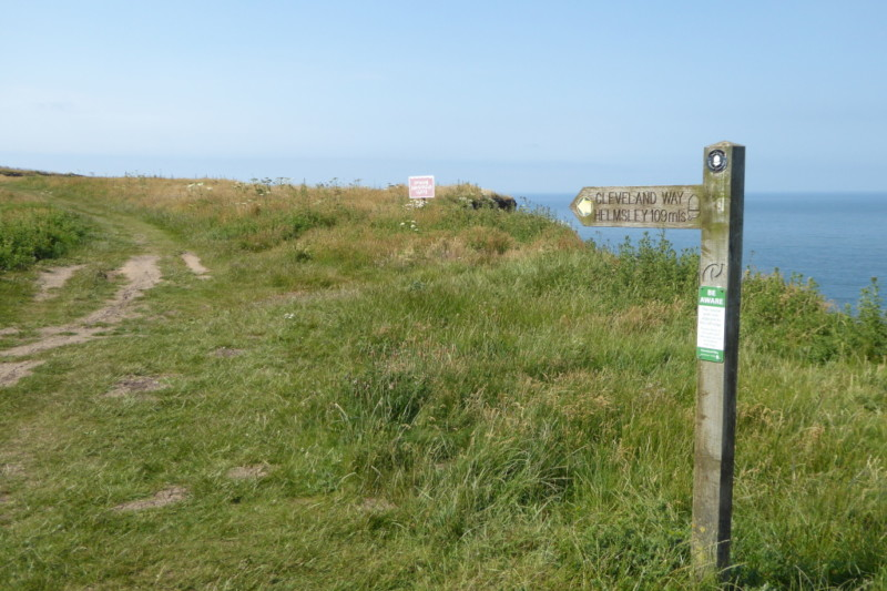 Cleveland Way signpost at Filey Brig