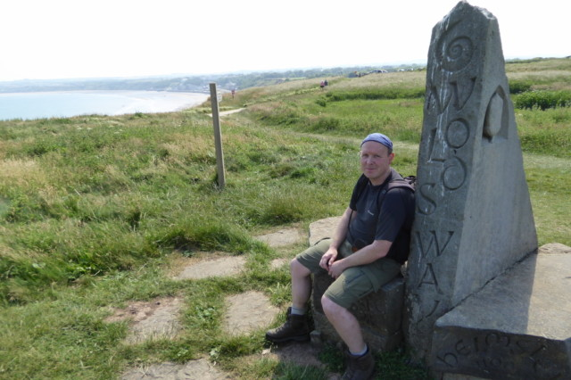The author sat on the monument at the end of the Yorkshire Wolds Way