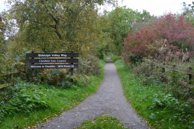 The Biddulph Valley Way, with a sign from Cheshire East Council welcoming you to the trail