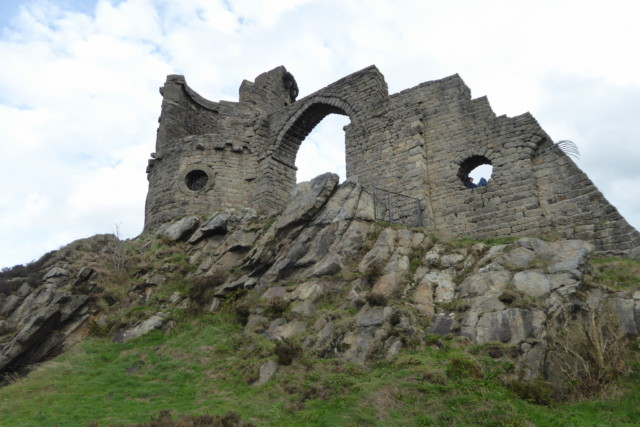 The 'ruined' folly that is Mow Cop Castle, in the village of Mow Cop