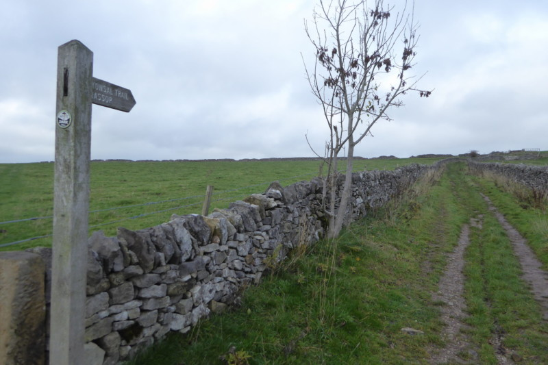 Drystone walls next to a footpath, outside Bakewell