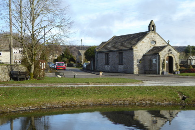 Foolow village church and duckpond