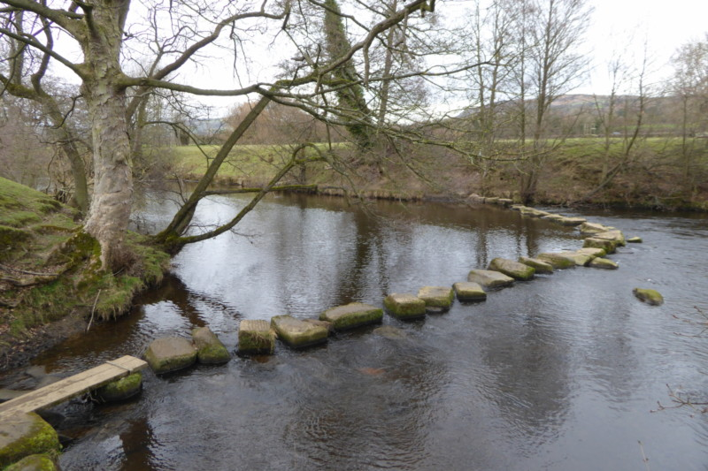 Stepping stones across the River Derwent, near Hathersage