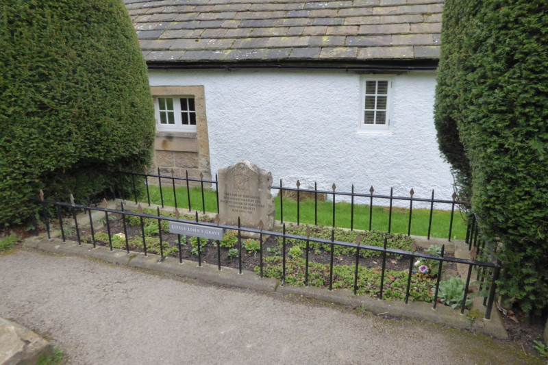 The grave of Little John, in a churchyard in Hathersage