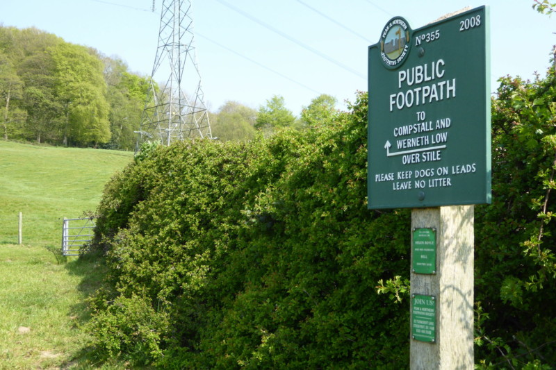 A green Peak and Northern Dootpaths Society sign on the Etherow Goyt Valley Way