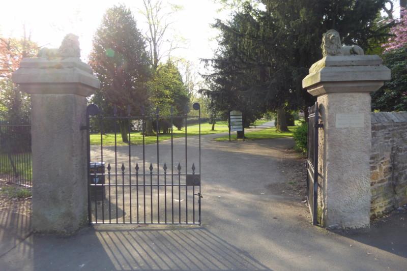 The entrance gates to Vernon Park