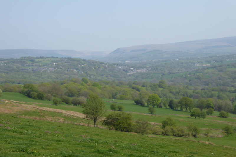 The view towards the Peak District, from the south side of Werneth Low
