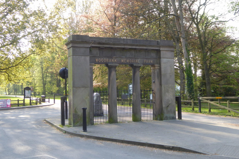The entrance gate to Woodbank Memorial Park