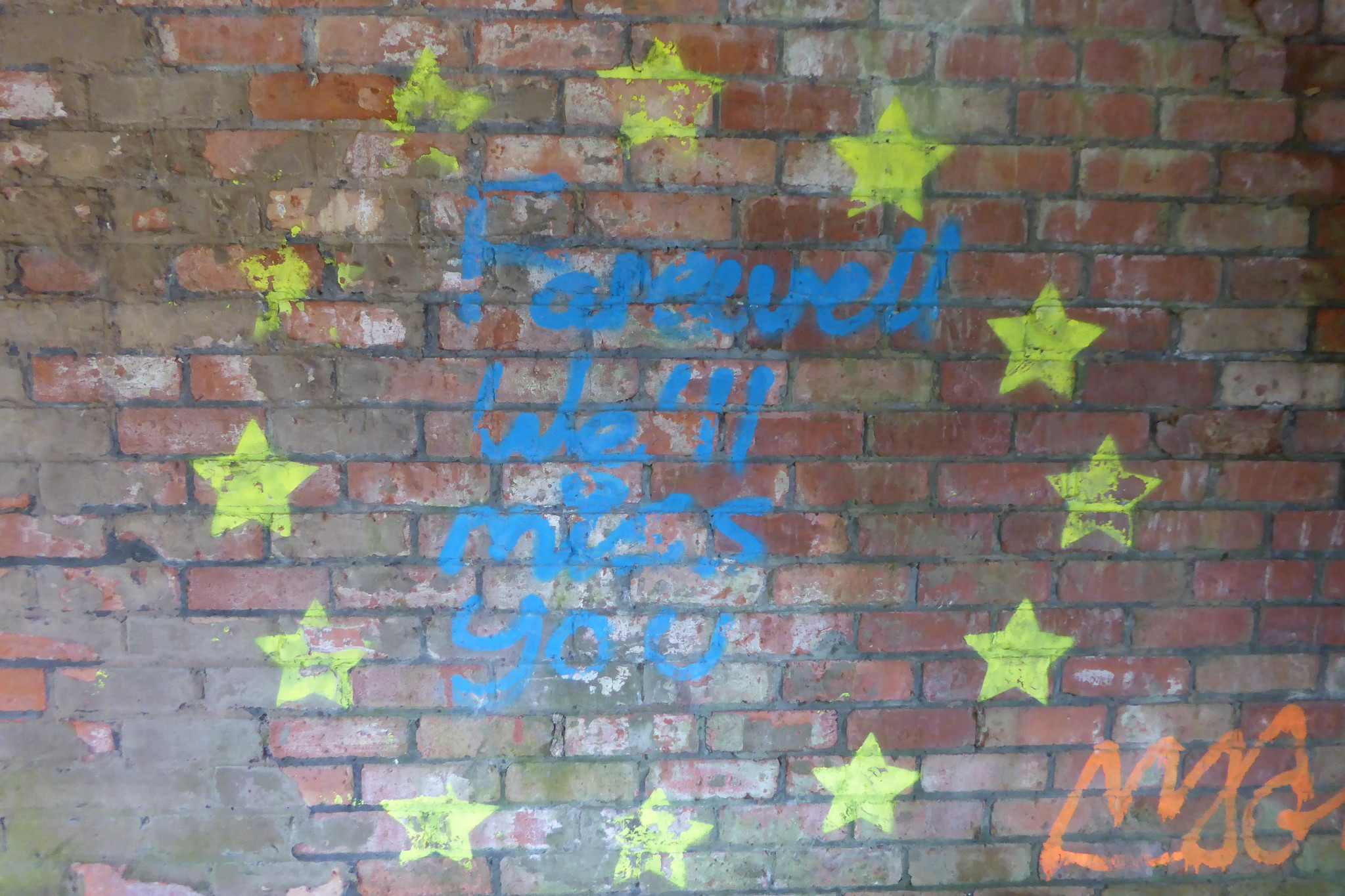"Graffiti/art work from an old railway hut on the Monsal Trail, with the 12 EU stars and the words ""Farewell.  We'll Miss You"" in the middle."
