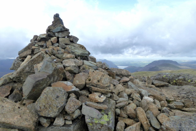 A large summit cairn