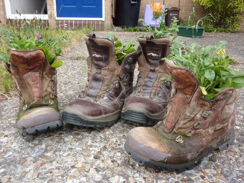 His and her hiking boot flower pots