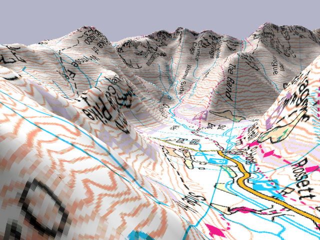 Langdale in the Lake District, represented in 3D maps by Memory Map (mapping by Ordnance Survey)